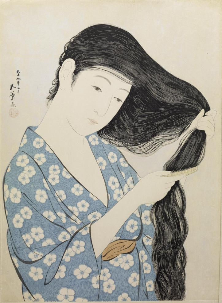 hashiguchi_goyo_-_woman_in_blue_combing_her_hair_-_walters_95880
